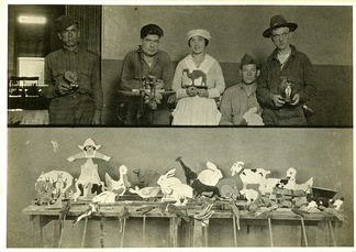 Occupational therapy. Toy making in psychiatric hospital. World War 1 era.