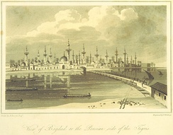 A view of Baghdad from the print collection in Travels in Asia and Africa, etc. (ed. J. P. Berjew, British Library)