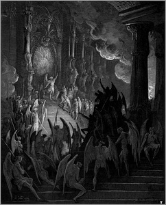 Illustration (1866) by Gustave Doré showing Satan as the Prince of Hell, as portrayed in John Milton's Paradise Lost