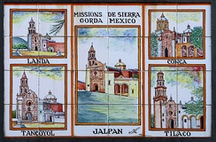 Azulejos depicting the Sierra Gorda Missions, which Serra founded between 1750-60.