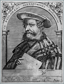 The mathematician Claudius Ptolemy 'the Alexandrian', as depicted by a 16th-century engraving[1]