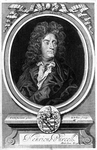 Engraved portrait of Purcell by R. White after Closterman, from Orpheus Britannicus