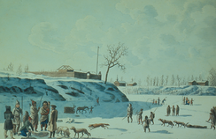 An 1821 painting of winter fishing on the ice of the Assiniboine and Red rivers. Fort Gibraltar was erected in 1809.