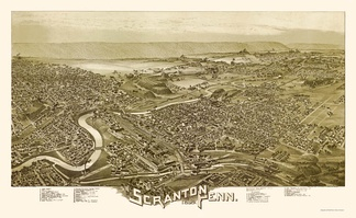 Scranton, as depicted on an 1890 panoramic map