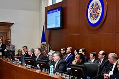 US Secretary of State Mike Pompeo speaks at the OAS Permanent Council in January 2019