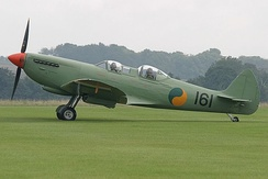 Spitfire T9 in 2005, civil registered as G-CCCA, painted in the markings of the Irish Air Corps