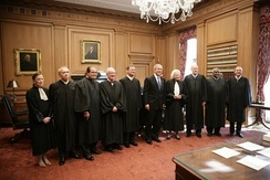 Justices of the Supreme Court with President George W. Bush (center), October 2005.