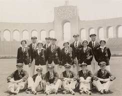 The Australian Olympic Team at the Olympic Stadium, Los Angeles, 1932
