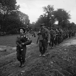 The 2nd Battalion, led by their piper, advance during Operation Epsom in Normandy in June 1944