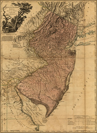 The Province of New Jersey, Divided into East and West, commonly called The Jerseys,1777 map by William Faden
