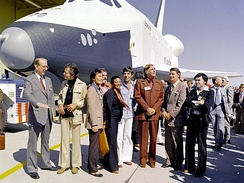 Testbed Space Shuttle Enterprise, named after the fictional starship with Star Trek television cast members and creator Gene Roddenberry in 1976.