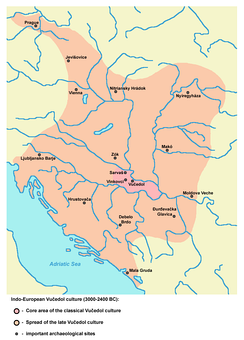 Map of Indo-European Vučedol culture centred in Syrmia (3000-2400 BC).