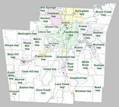 Townships in Washington County, Arkansas as of 2010