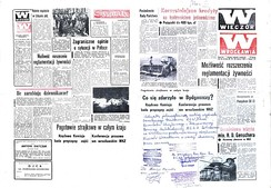 "The 20–21 March 1981 issue of Wieczór Wrocławia (This Evening in Wrocław) shows blank spaces remaining after the government censor pulled articles from page 1 (right, ""What happened at Bydgoszcz?"") and from the last page (left, ""Country-wide strike alert""), leaving only their titles as the printers—Solidarity-trade-union members—decided to run the newspaper with blank spaces intact. The bottom of page 1 of this master copy bears the hand-written Solidarity confirmation of that decision."