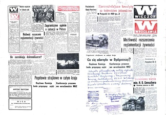 "March 20–21, 1981, issue of Wieczór Wrocławia (The Wrocław Evening). Blank spaces remain after the government censor has pulled articles from page 1 (right, ""What happened at Bydgoszcz?"") and from the last page (left, ""Country-wide strike alert""), leaving only their titles. The printers—Solidarity-trade-union members—have decided to run the newspaper as is, with blank spaces intact. The bottom of page 1 of this master copy bears the hand-written Solidarity confirmation of that decision."