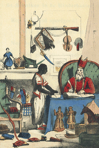 1850 illustration of Saint Nicolas with his servant Père Fouettard / Zwarte Piet