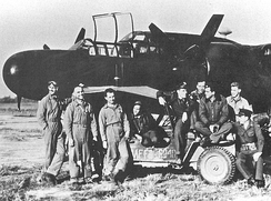 Aircrews of the 426th Night Fighter Squadron at their first operational base at Chengtu, China, 1944. From Chengtu, their mission was to protect B-29 Superfortresses using Chinese Air Bases as staging bases from India on Operation Matterhorn Missions to Japan. After the B-29s moved to the Central Pacific, the Black Widows were used for night intruder and ground attack missions during daylight hours.