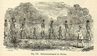 Slave transport in Africa, depicted in a 19th-century engraving