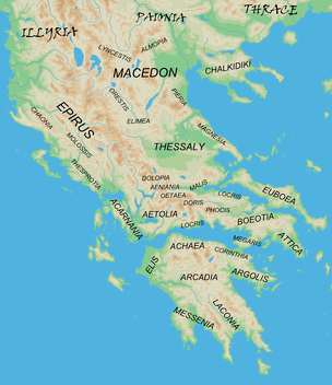 "Map showing the major regions of mainland ancient Greece and adjacent ""barbarian"" lands."