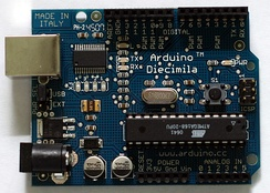 The Arduino Diecimila, another popular and early open source hardware design.