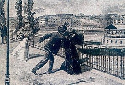 An artist's rendition of the stabbing of Empress Elisabeth of Austria by the Italian anarchist Luigi Lucheni in Geneva, 10 September 1898