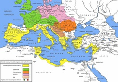 The Roman republic and its neighbours in 58 BC.