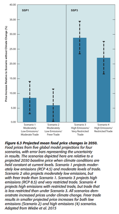 USDA, projected changes in food prices, depending on emissions scenarios, also factoring trade