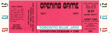 A ticket from the Blue Jays' first-ever regular-season game