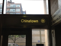 "Sign inside Jefferson Station in Philadelphia pointing to ""Chinatown"""
