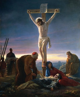 Artwork depicting the Sacrifice of Jesus: Christ on the Cross by Carl Heinrich Bloch