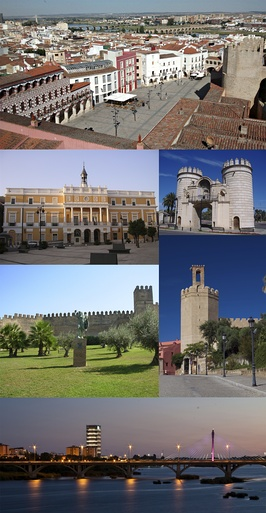 Top:Plaza Alta (High Square), Second left:Ayuntamiento de Badajoz (Badajoz City Hall), Second right:Puerta de Palmas (Palms Gate), Third left:Alcazaba de Badajoz, Third right:Torre de Espantaperros (Scaredogs Tower), Bottom:A twilight view of Guadiana River and Badajoz Royal Bridge