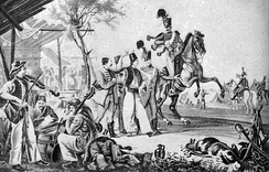 Early–19th-century lithograph depicting a recruitment with music