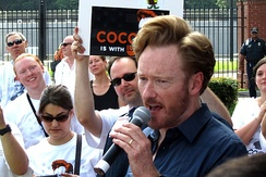 Conan O'Brien at a supporter rally held outside TBS headquarters in Atlanta, Georgia in June 2010