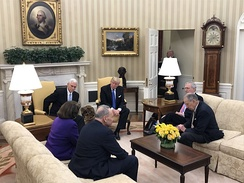 Donald Trump and Mike Pence meeting with members of the Senate leadership in the Oval Office, January 24, 2017