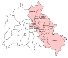 Boroughs of East Berlin (as of 1987)