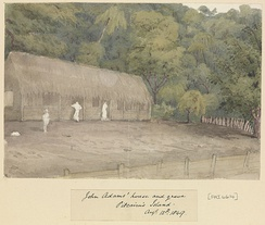 1849 painting of John Adams Wooden House and grave Pitcairn Island