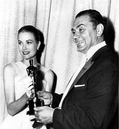 Grace Kelly presents the Oscar for Best Actor to Borgnine for his performance in Marty, 1956.