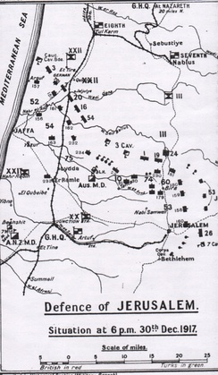 Falls Sketch Map 21 shows position of front line before the capture of Jericho