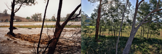On the left is a photo taken during the 1998 floods in Swifts Creek in Australia. On the right is the same location 8 years later