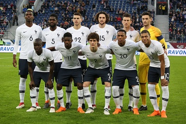 France lining up before a friendly against Russia in 2018.