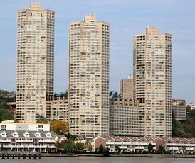 Guttenberg, New Jersey, is the most densely populated incorporated place in the United States.[1] Seen in this image are the Galaxy Towers, which are just across the Hudson River from Manhattan. The Galaxy Towers contain 1,075 apartments.[2]