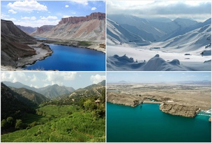 Landscapes of Afghanistan, from left to right: 1. Band-e Amir National Park; 2. Salang Pass in Parwan Province; 3. Korangal Valley in Kunar Province; and 4. Kajaki Dam in Helmand Province