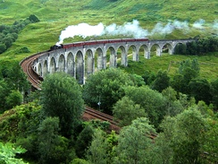 The Glenfinnan Viaduct, a great example of viaducts in the UK