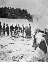 Edward, Prince of Wales visiting Niagara Falls in 1860, during his two-month tour of Newfoundland, Prince Edward Island, Nova Scotia, and the Province of Canada.