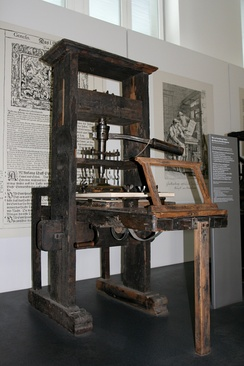 The 15th-century invention of the printing press with movable type by the German Johannes Gutenberg is widely regarded as the most influential event of the modern era.[207]