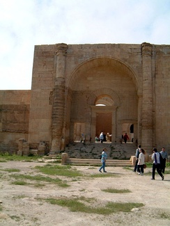 A barrel vaulted iwan at the entrance at the ancient site of Hatra, modern-day Iraq, built c. 50 AD