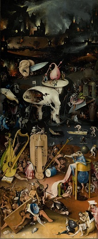 Hell as depicted in Hieronymus Bosch's triptych The Garden of Earthly Delights (c. 1504).