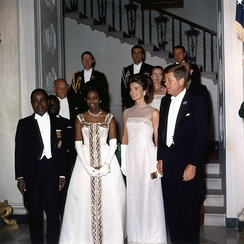 President Félix Houphouët-Boigny and First Lady Marie-Thérèse Houphouët-Boigny in the White House Entrance Hall with President John F. Kennedy and First Lady Jacqueline Kennedy in 1962.