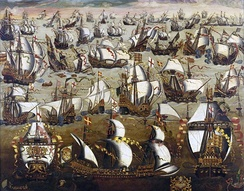 A late 16th-century painting of the Spanish Armada in battle with English warships