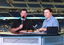 Jeff Conine broadcasting live during a post-game Fox Sports show.
